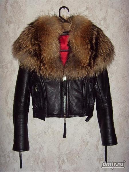 Кожанная куртка с мехом disquared