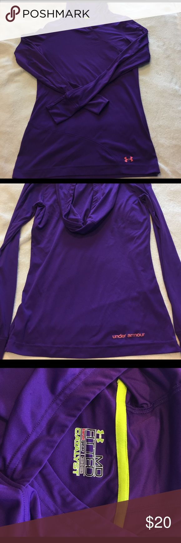 Under Armor Hooded Long Sleeve Top Purple Long Sleeve hooded Under Armour fitted heat gear top. Light long sleeve with thumb hole detail. Great condition. Size Medium. Under Armour Tops Tees - Long Sleeve