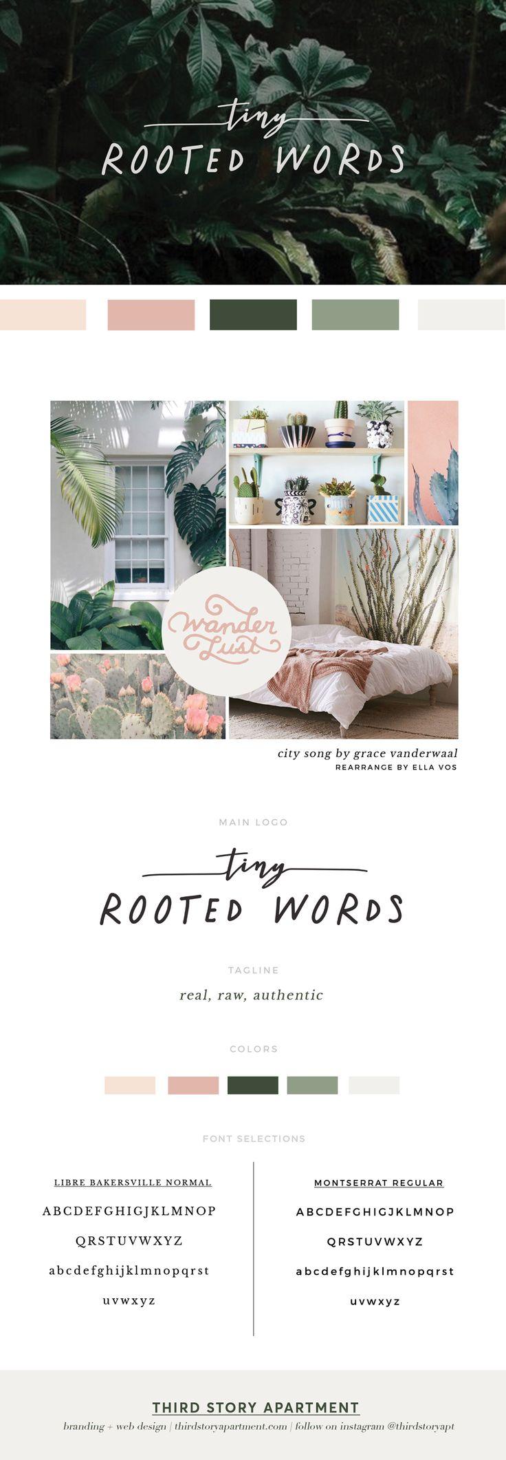 _ Branding, Blush color palette, branding inspiration, modern branding,  handrawn branding, cactus color palette, hunter green color palette, ...