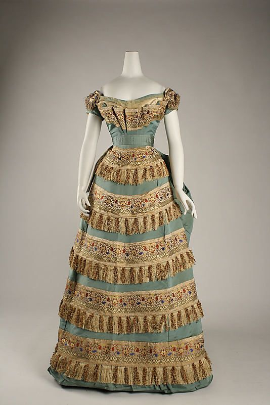 Dress (Ball Gown).  House of Worth(French, 1858–1956).  Designer: Charles Frederick Worth (French (born England), Bourne 1825–1895 Paris). Date: ca. 1872. Culture: French. Medium: silk. Dimensions: Length at CB (a,b,c): 55 in. (139.7 cm). Length (c): 23 in. (58.4 cm).