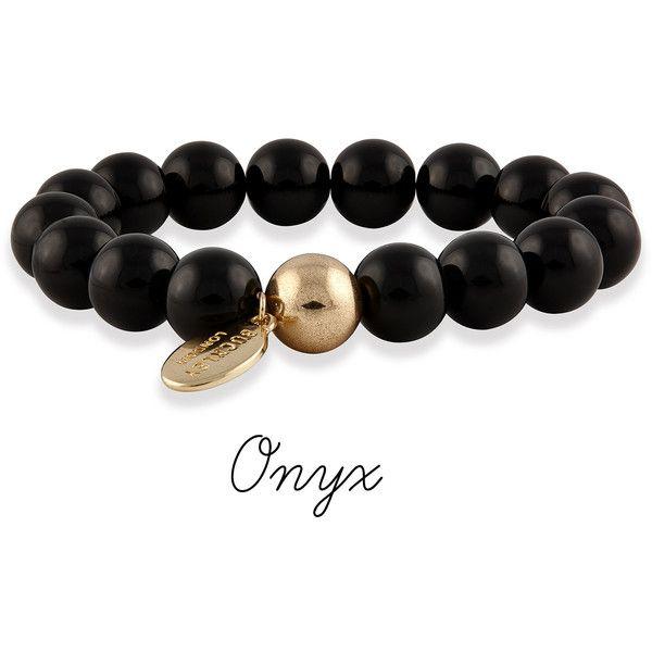 Serenity Semi-Precious Bracelets ($36) ❤ liked on Polyvore featuring jewelry, bracelets, semi precious stone bracelet, black bangles, bracelet jewelry, semi precious stone jewelry and bracelet bangle