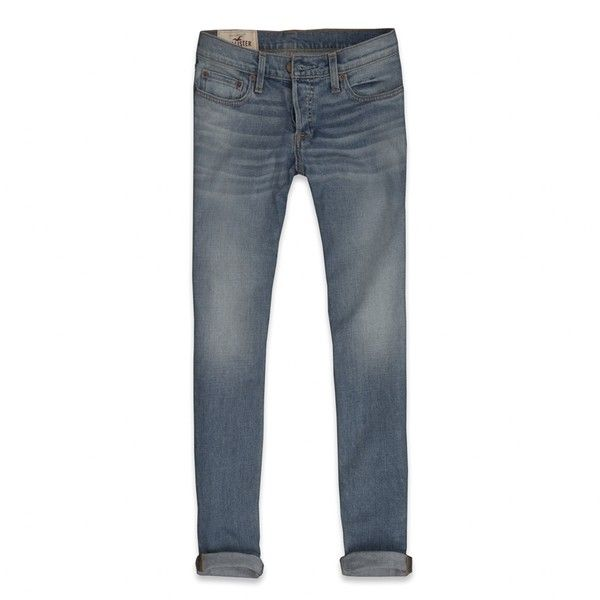 Hollister Co Hollister Skinny Jeans (£27) ❤ liked on Polyvore featuring men's fashion, men's clothing, men's jeans, hollister, jeans, pants, mens faded jeans, mens frayed hem jeans, mens cuffed jeans and mens light wash skinny jeans