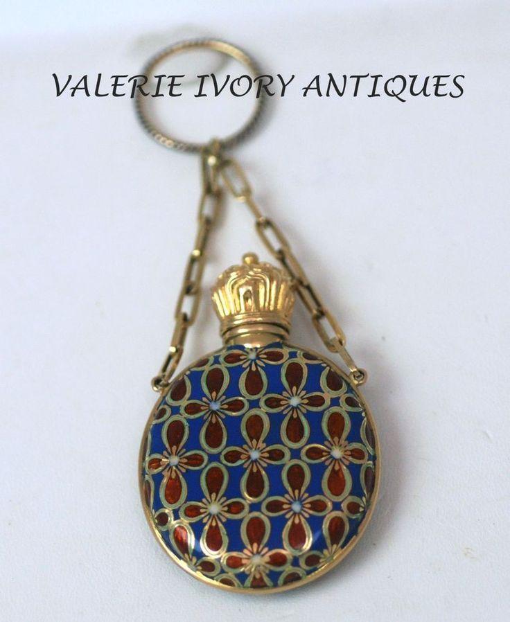 Antique Swiss 18kt Gold, Red Blue Enamel erfume Scent Bottle - C 1860 #Chatelaine