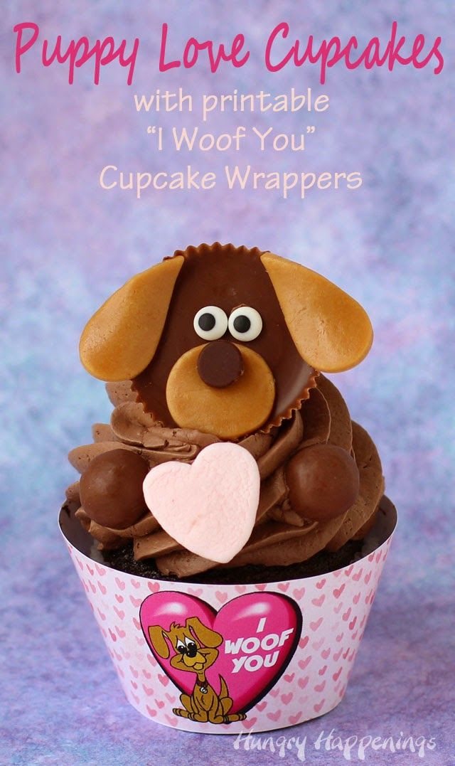 """Puppy Love Cupcakes with printable """"I Woof You"""" Cupcake Wrappers for Valentine's Day by @hungryhappening"""
