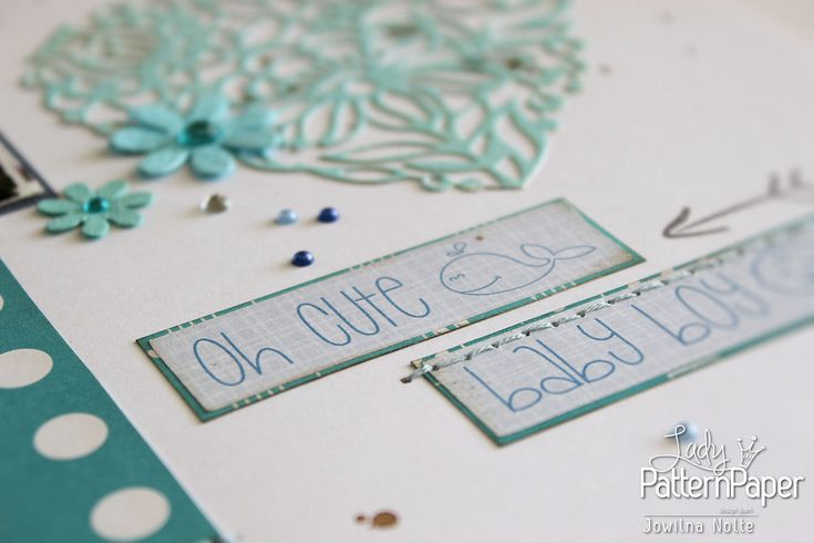 Creating a shades of blue layout with #LadyPatternPaper #OhMyWord #StickerSheets and #scrapbooking papers is quick and simple. Follow this step by step to dress up your stickers!