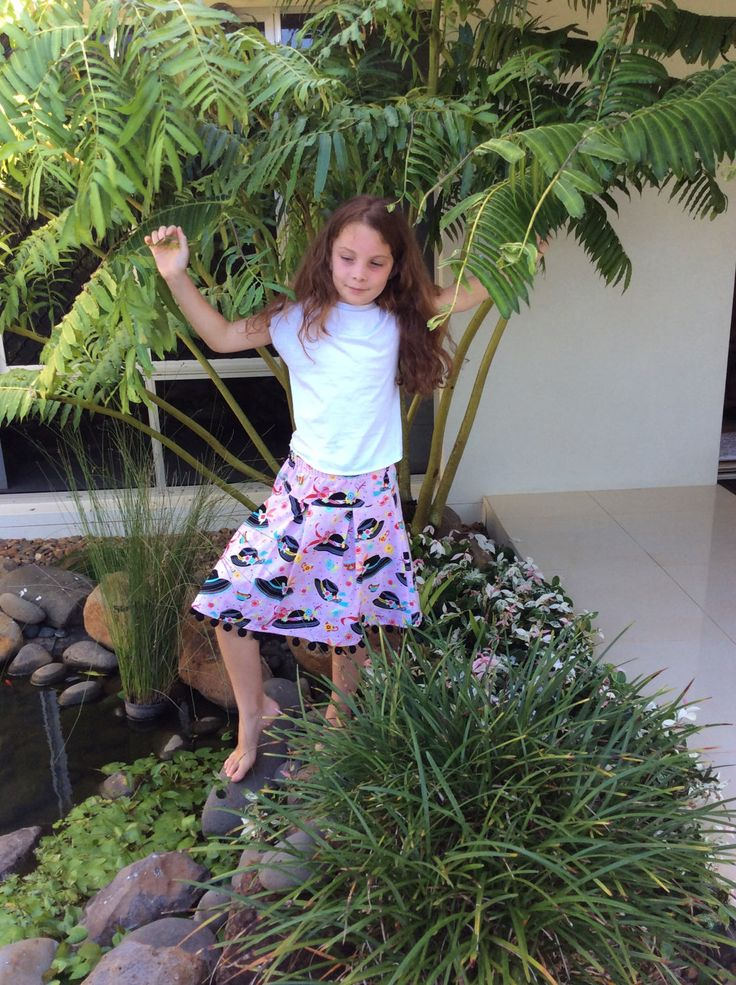 Tweens skirt in pink print and black hat motifs with bobble trim by VSLFashions on Etsy