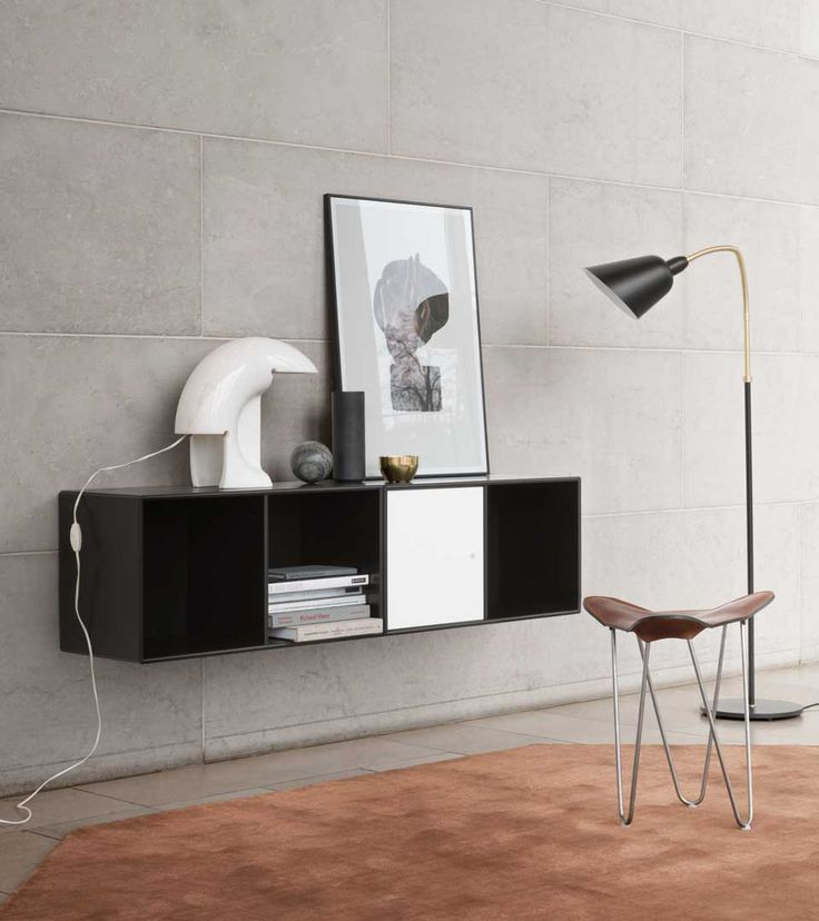 LINE - horizontal shelving from Montana Collection in the colour Black