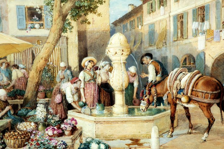MYLES BIRKET FOSTER (1825-1899) - The Fountain at Toulon.