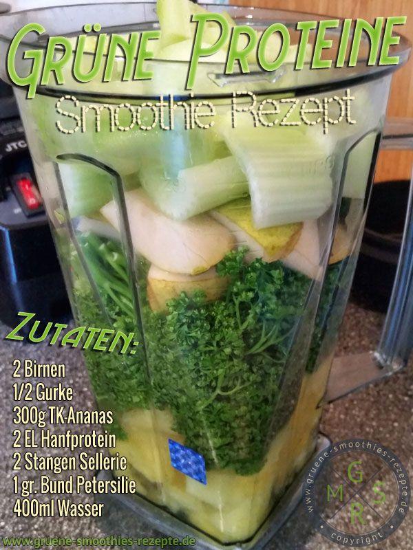 Grüner Smoothie mit Hanfprotein, Petersilie, Sellerie, Gurke, Ananas und Birne