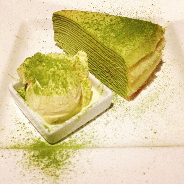 Gorgeous slice of green tea crepe cake (made from over 20 layers!) @ Lady M Cake Boutique, NYC.    Photo by Gloria C. on Foursquare City Guide.