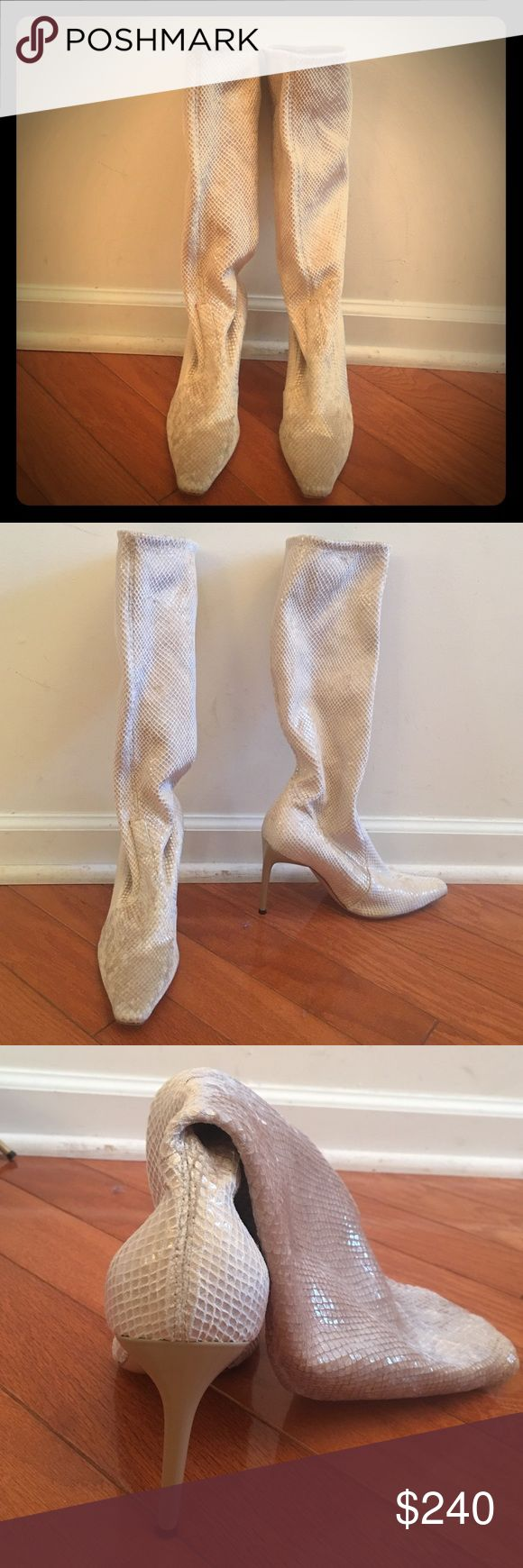 Casadei Snake Print Stretch Boot Size 6.5 Absolutely stunning bone color snake print stretch boots. These boots will have people stopping you on the street. They are so comfortable yet glamorous. Some wear on soles. Casadei Shoes Heeled Boots