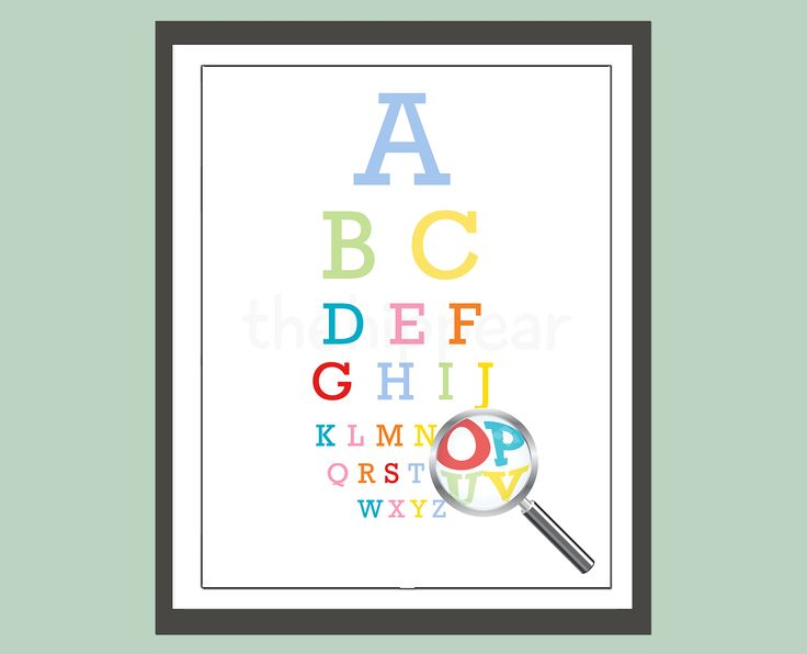 ABC eye chart style, this simple piece will add a splash of colour to your room.