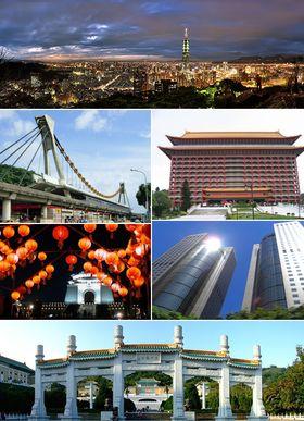 Clockwise from top: Taipei skyline, Grand Hotel, Far Eastern Plaza, National Palace Museum, Chiang Kai-shek Memorial Hall, Jiantan Station