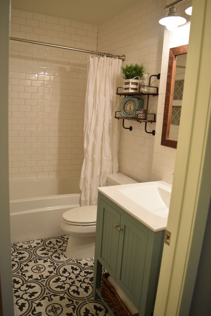 Our Small Bathroom Remodel Subway Tile Walls Merola Tile Arte Gray Cement Tile Look Floors And