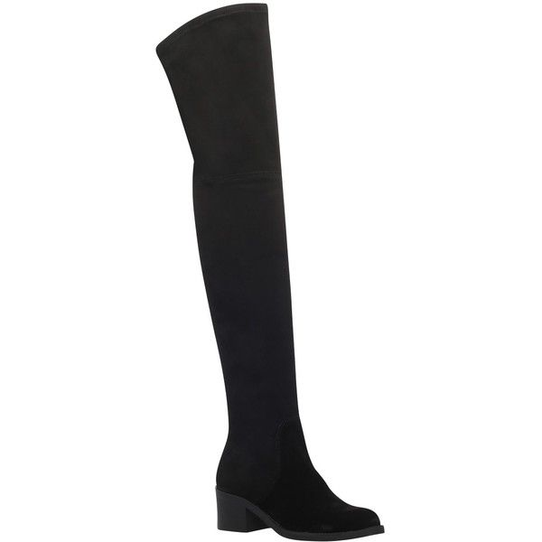 Carvela Whimsy Over the Knee Boots, Black ($170) ❤ liked on Polyvore featuring shoes, boots, over-the-knee suede boots, black thigh-high boots, thigh high flat boots, over the knee boots and over-knee boots