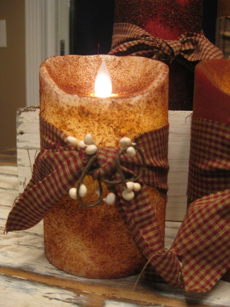These are our Amazing Country Primitive Flameless Candles we make here at our shop in KY. Please see our website www.theredbrickco... to order or simply call the shop 270-351-1224. These are available in 8 colors. Either Prim or Grungy.  This one is Prim Ivory.