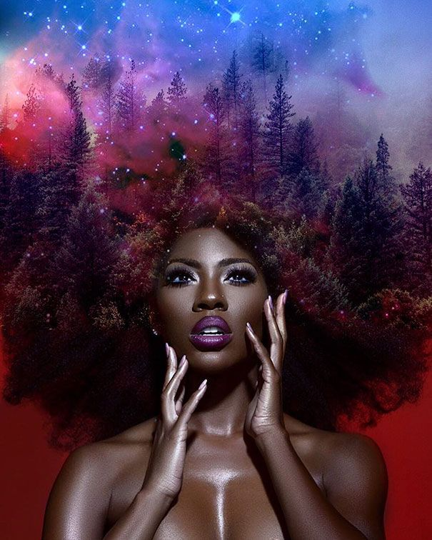 This Artist Turned Womens' Afros Into Breathtaking Galaxies To Celebrate Their Natural Hair | 22 Words