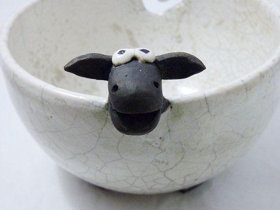 baaa Raku Sheep Yarn Bowl by BowlsInc on Etsy
