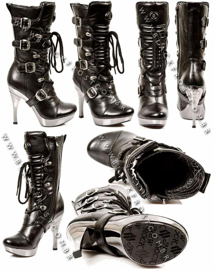 Bota cano médio 5273-s10 NEW ROCK - Femininos   Black Frost