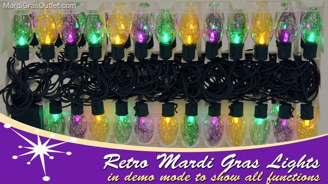 Retro Bulb LED Mardi Gras Multi-Function Lights. A demonstration of our retro style Mardi Gras LED lights.