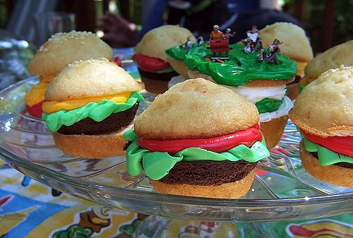 Fire Up the Grill for Hamburger Cupcakes! by cupcakequeen, via Flickr - Scooby and Shaggy do love burgers.