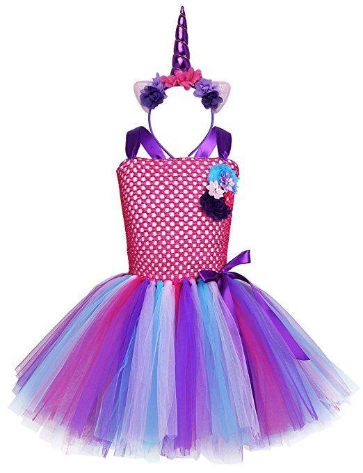 Yizyif Komplettes Einhorn Kostum Fur Kinder Madchen Kleid Tutu Mit