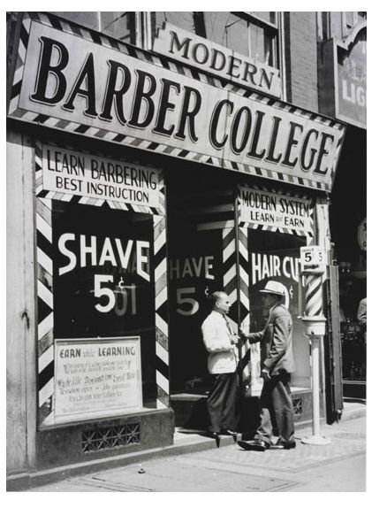 Barber School : Barber College c. 1930s...my dad learned barbering from his dad, not ...