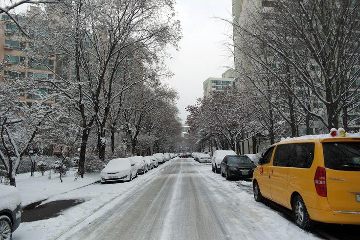 눈 내린, 회사 앞, 아파트 단지 풍경. 2017.1