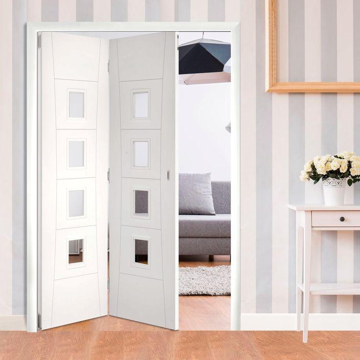 Deanta 2 Door Folding Set - Pamplona White Primed Flush Door with Clear Glass - 2060mm High & 1295mm or 1447mm Wide. #foldingdoors #bifolddoors #whitedoors
