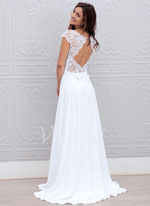 Wedding Dresses - $109.56 - A-Line/Princess Scoop Neck Sweep Train Chiffon Lace Wedding Dress With Bow(s) (0025059917)