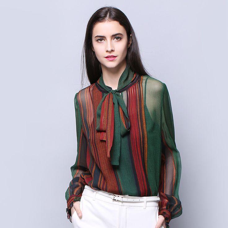 100% SIlk Chiffon Women Shirt Natural Silk Fabric Plain Color Fashion Shirts 2017 New Desigual