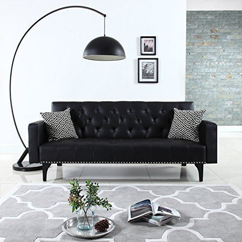 This modern sleeper sofa features a classy mid century design. Our mid century modern sleeper sofa comes wrapped in carefully selected durable bonded leather upholstery. it comes equipped with a beautiful tufted design and nailhead trim to create the perfect sophisticated yet traditional style... more details available at https://furniture.bestselleroutlets.com/living-room-furniture/futons/futon-sets/product-review-for-modern-tufted-bonded-leather-sleeper-futon-sofa-with-nail
