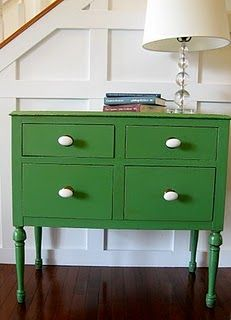 Inspiration piece. Leafy Green by Rustoleum with white knobs.  Found a cheap old desk at a garage sale and restyled with this look.