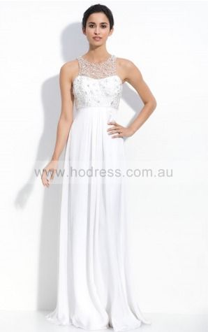 Sleeveless Zipper Jewel Floor-length Chiffon Evening Dresses dt00305--Hodress