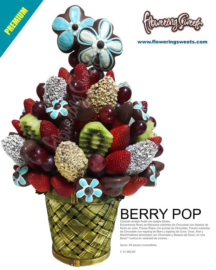 berry pop colorido arreglo frutal con alegre diseo encontraras flores de manzana cubiertas de chocolate con diseos de flores en color fresas rojas con