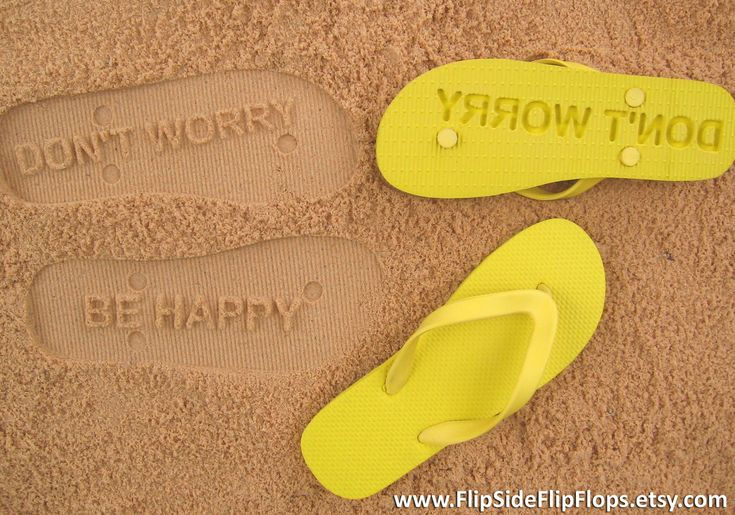 Don't Worry Be Happy - Sand Imprint Flip Flops. $ 19.95, via Etsy. >> Perfect for your summer vacation! Leave smiles wherever you go. :): Summer Vacations, Flip Side, Custom Sands, Side Flip, Happy Quotes, Flip Flops, Don'T Worry, Imprint Flip, Sands Imprint
