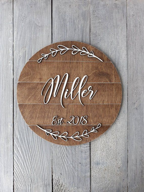 Personalized Last Name Sign Round Wood Sign Wedding Gift For Etsy In 2020 Wooden Name Signs Personalized Wooden Signs Wood Signs Wedding Gift