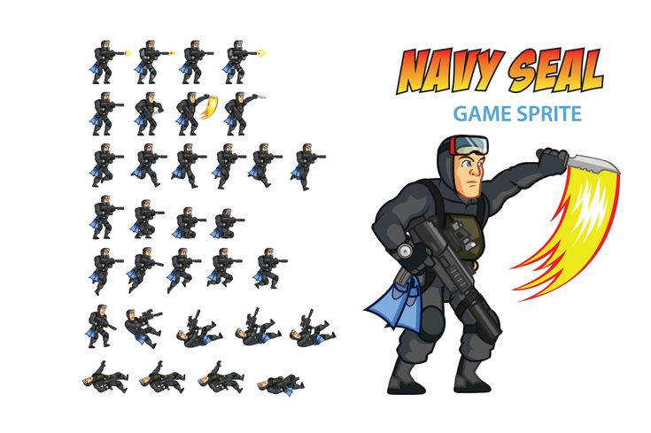 NAVY SEAL Game Sprite by Gagu on Creative Market