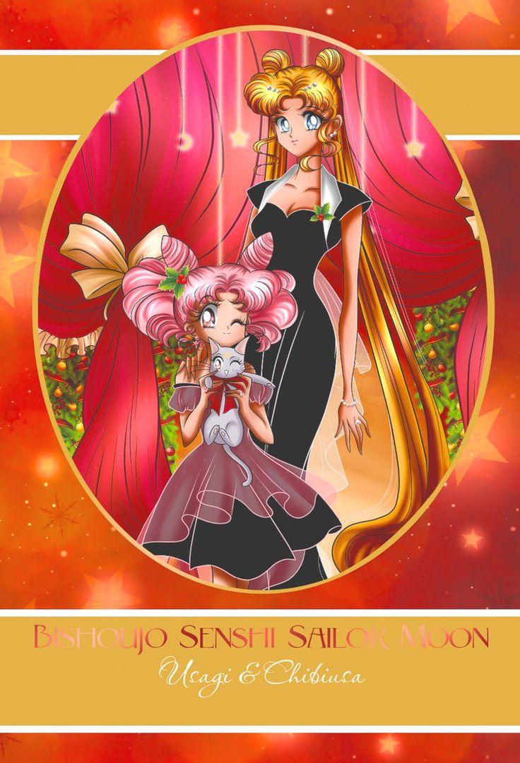 Christmas party card - Usagi n Chibiusa by selinmarsou