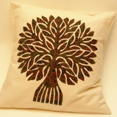 Tree of Life Applique Cushion Cover