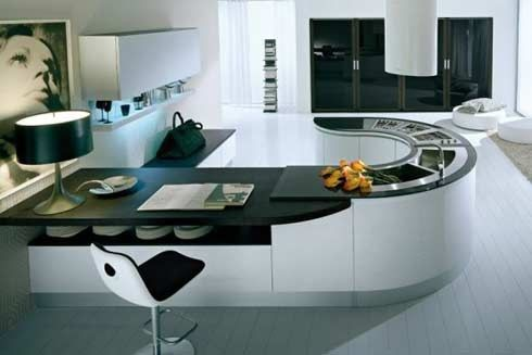 Espectacular península de muebles de cocina curvos. Más info en www.lovikcocinamoderna.com