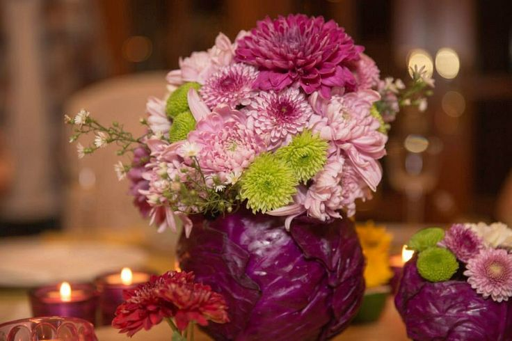 Tropical flowers with red cabbage vase flower