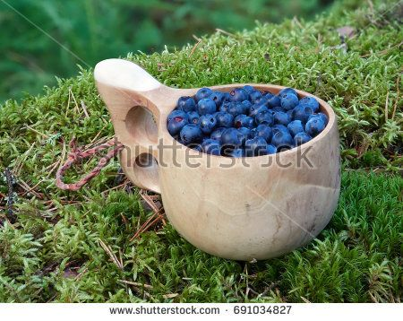 Stock Photo: Fresh blueberries in wooden cup on the ground in forest. Healthy food from nature with lots of vitamins. -