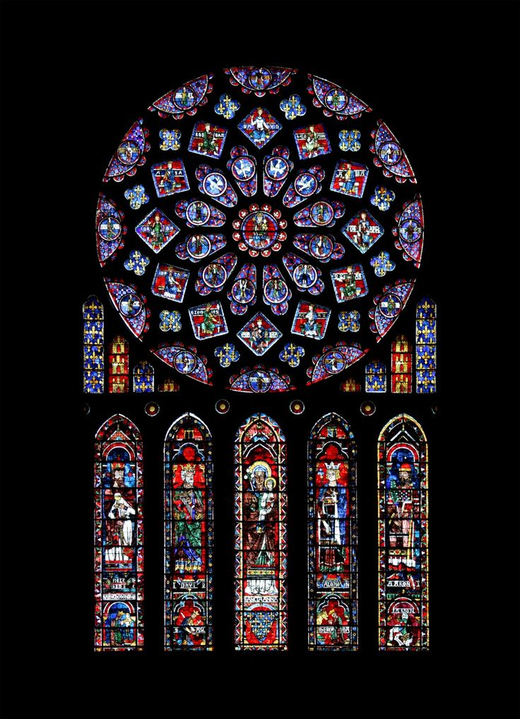 1. Rose and Lancets 3. c.1230-1235 Gothic 4. Stain glass 5/6 Chartres Cathedral 9. Stain glass was used to illuminate these large gothic cathedrals and also for aesthetics