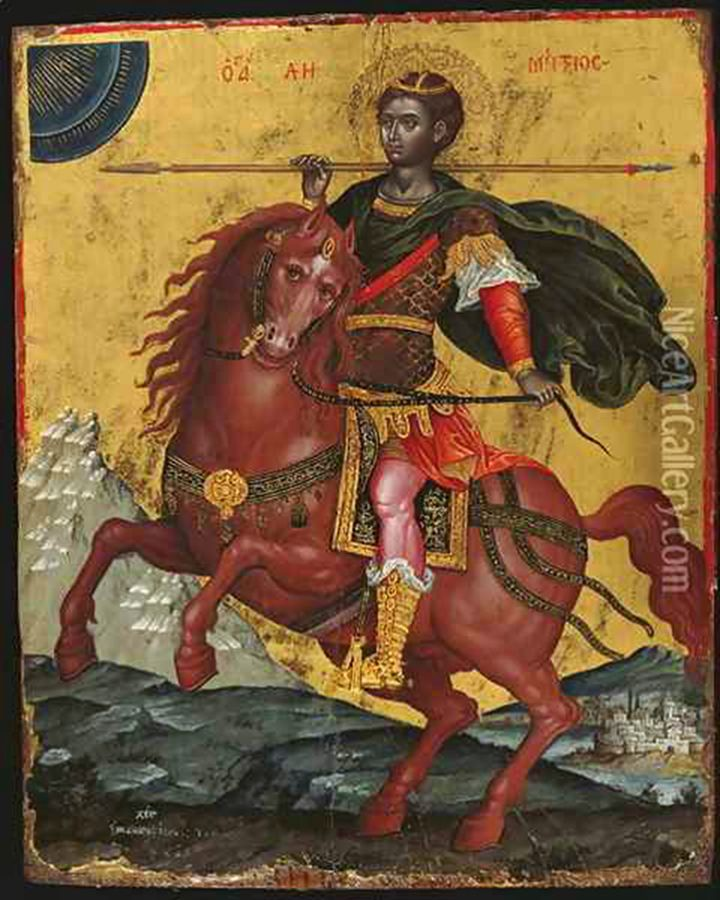 Africans In Europe - Moors - Medieval Art History: Saint Demetrios. Saint Demetrius of Thessaloniki (Greek: Άγιος Δημήτριος της Θεσσαλονίκης) was a Christian martyr, who lived in the early 4th century. During the Middle Ages, he came to be revered as one of the most important Orthodox military saints, often paired with Saint George. His feast day is 26 October for Christians following the Gregorian calendar and 8 November for Christians following the Julian calendar.