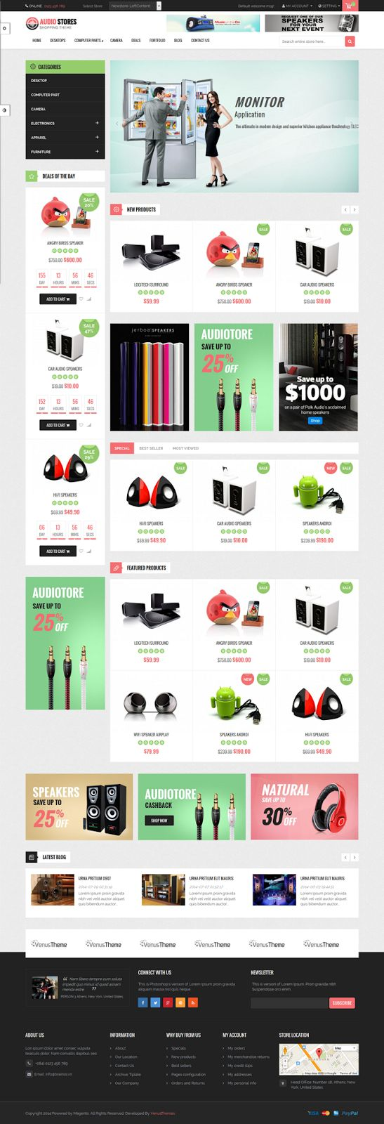 Venus Audio Store is a #Responsive #Magento #Template suitable for any kind of…