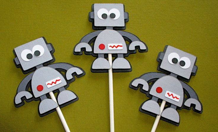 Robot Cupcake Toppers by ALittlePaperHouse on Etsy https://www.etsy.com/listing/198528830/robot-cupcake-toppers