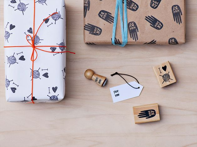 Symbols – I love knitting stamp – a unique product by heitereTage on DaWanda