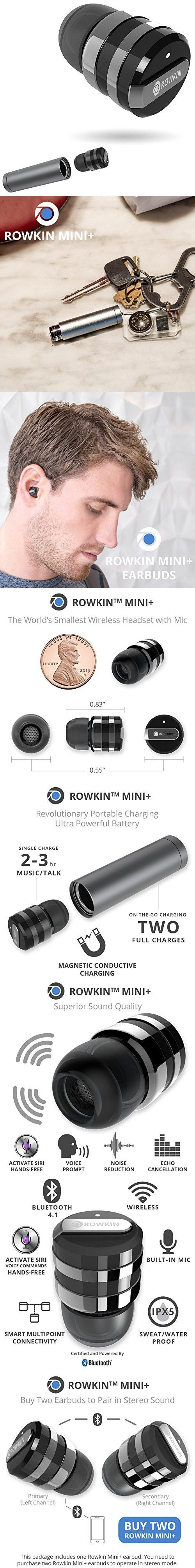 Rowkin Mini Plus+ Wireless Headphone, Bluetooth 4.1 Earbud with Mic. Smallest Cordless Hands-free Stereo Earphone Headset with Portable Charger & Noise Reduction (BUY 2 for Stereo Sound) - Space Gray
