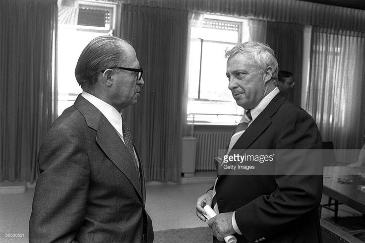 In this handout from the Israeli Governmental Press Office, Agriculture Minister Ariel Sharon (R) meets with Prime Minister Menahem Begin in the prime ministry August 9, 1977 in Jerusalem.